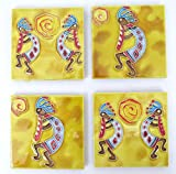 Mother's Day ceramic coasters, Native dance designs. Brilliant striking Colors make this an elegant gift for mom.