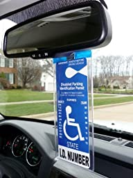 Mirortag Silver plus 2 Hooks by JL Safety- Handicap Tag Holder Magnetically Attached & Detached to/from Rearview Mirror