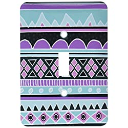 3dRose lsp_112831_1 Bright Tribal Pattern Neon Blue Fluorescent Hot Pink Purple Black 80S Aztec Zigzag Patterned Rows Light Switch Cover