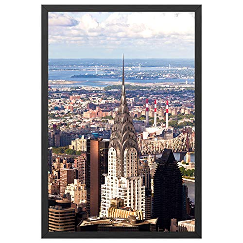 ONE WALL 24x36 Inch Poster Frame, Black Aluminum Movie Poster Frame for Photo Picture Poster Artwork Wall Hanging - Wall Mounting Hardware ()