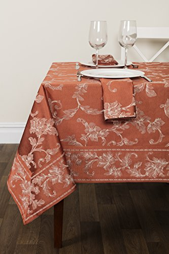 Harmony Scroll Tablecloth For Fall and Harvest (Bison/Burnt Orange, 60