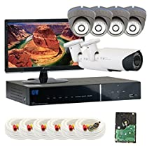 GW Security Inc 6CHP1 8 Channel H.264 960H & D1 Realtime playback DVR with 6 x 1/3 Effio-E CCD 700TVL Security Camera System Free LED Monitor (Black/Gray)