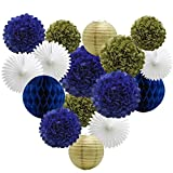 16pcs Party Decoration Supplies Set of Tissue Honeycomb Balls Lanterns Paper Pom Poms Flowers Hanging Fan for Room Wedding Anniversary Birthday Graduation Backdrop Decoration (Navy Blue White Gold)