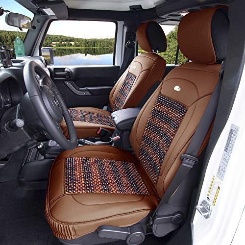 Audi Cooling 2000 A4 (FH Group PU203102 Premium Leather Seat Leather Cushion Pad Seat Covers Brown Color w. Cooling Rosewood Beads-Fit Most Car, Truck, SUV, or Van)