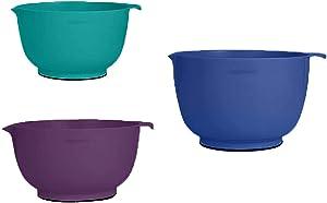 Farberware Professional Plastic Mixing Bowls, Set of 3 (Blue, Purple, Teal)