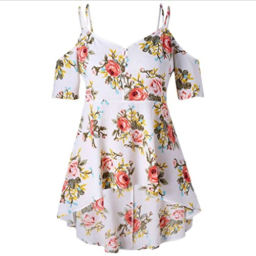 Floral Print Silk Blouse - 2018 New Women's Blouse, E-Scenery Double Strap Silk Floral Short-Sleeve Print T-Shirt Tops with Front Pearl (White, XX-Large)