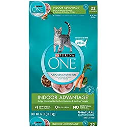 Purina ONE Hairball, Weight Control, Indoor, Natural Dry Cat Food; Indoor Advantage - 22 lb. Bag