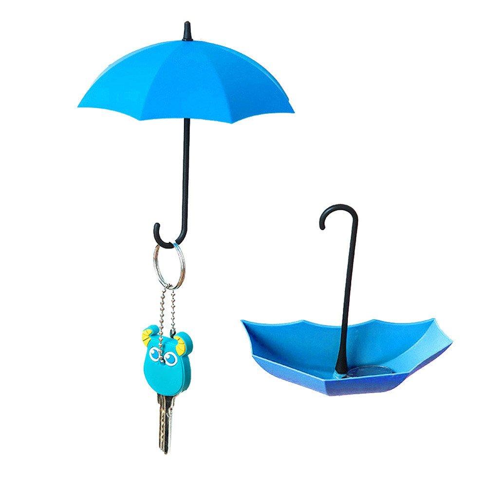 Selbstklebend Haken , Colorful Kreativ Regenschirm Selbst Sticky Haken Freie Nagel Starke Wandhaken für Schlüsselhalter , Wanddekoration , Wand Key-Rack, Wand Schlüsselhalter und Kleinteile Schmuck (Blau)