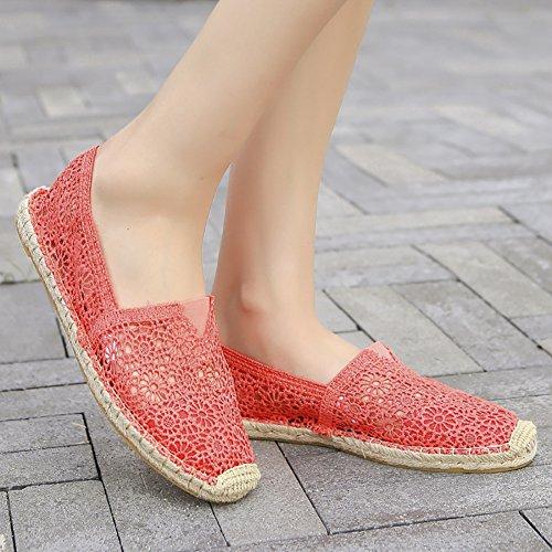 QZUnique Womens Floral Lace Slip On Breathable Flats Basic Shoes Rose Red c4D6PqdW