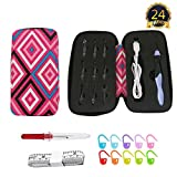 Rechargeable Light up Crochet Hooks Set with Latest Case,Lighted 9 in 1 Interchangeable Heads Crochet Hook with Sewing Tool Accessories(Red)