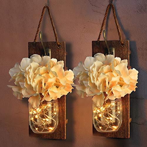 PONOSIR Handmade Home Décor Mason Jar Sconces Rustic Wall Décor Farmhouse Décor Decorative Jar Iron Hook Champagne Hydrangea Led Light Strips (Type -