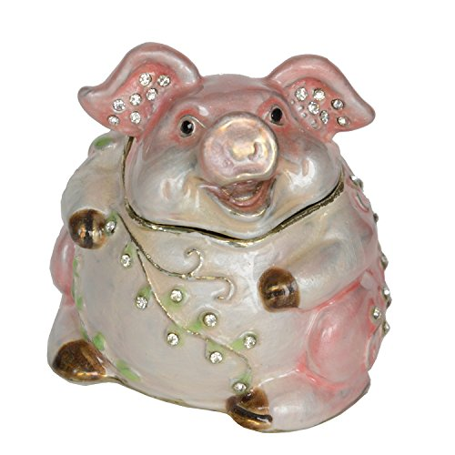 Jiaheyou Handcrafted Jeweled Pewter Pig Trinket Jewelry Box Creative Metal Craft Collectibles