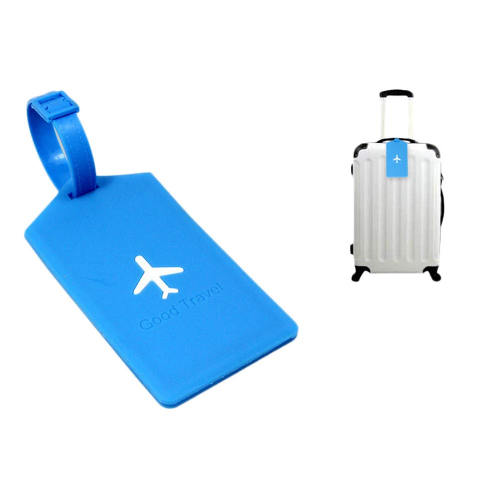 Plastic Luggage Tags with Adjustable Loops Baggage Labels Identifiers Travel Suitcase Tags Name ID Card Privacy Cover for Cruise Men Women (Blue)
