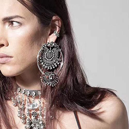 (Vintage Crystal Ethnic Earrings - Vintage Ethnic Fashion Luxury Brand Rhinestones Water Drop Crystal Geometric Gem Designer Vintage Earrings For Women )