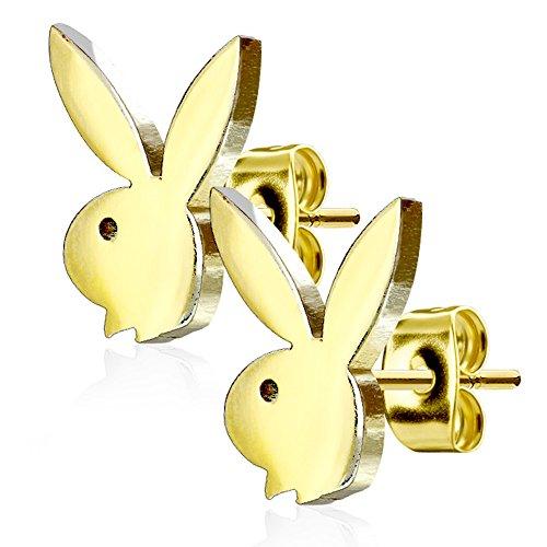 Pierce2GO Gold Playboy Bunny Earring Studs - 316L Surgical Steel - 20G (0.8mm) - Playboy - Earrings Mens Playboy