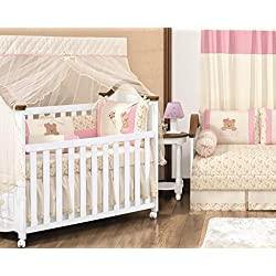 Teddy Bear Themed Pink and Ivory Baby Girls 10 Pcs Nursery Crib Set Embroidered