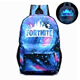 Fortnite Backpack School Bags, SIFANG Anime Luminous Backpack Noctilucent School Bags Daypack Laptop Bag for Boys Girls Men Women (Galaxy Blue)