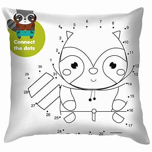 Connect Dots Dot by Numbers Education Activity Pillow Case Throw Pillow Cover Square Cushion Cover 26X26 Inch