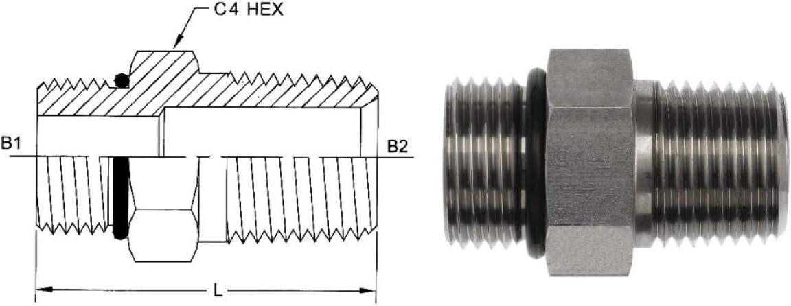 Straight Adapter 1//2 in Male JIC 37/° Flare x 20 mm Male Metric Steel Brennan
