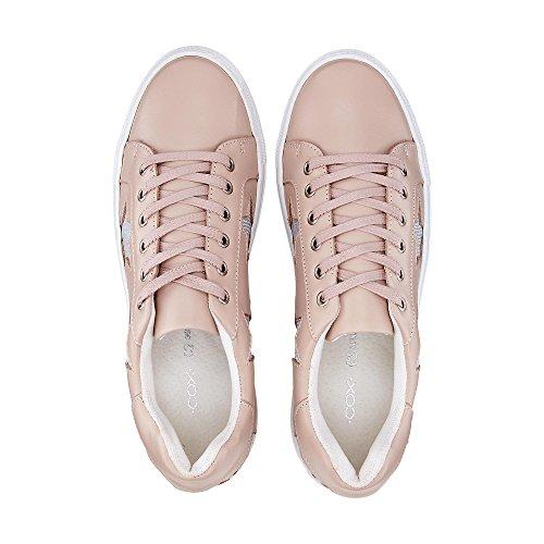 Cox Plateau-Schnürer, Rosa Glattleder Sneaker mit Glitter-Elementen Am Schaftrand Rosa