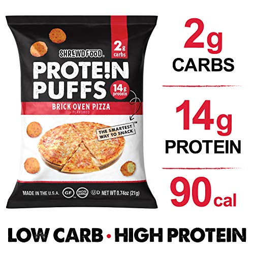 Shrewd Food Low Carb Keto Protein Puffs Brickoven Pizza 8 Pack | 112g Protein (14g per Serving), 2g Carbs | High Protein, Gluten Free Snacks, Real Cheese, No Artificial Flavors | Soy Free, Peanut Free