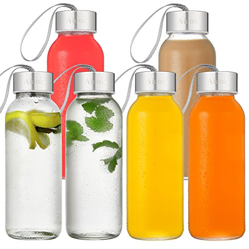 Glass Bottle, Aicok Glass Water Bottle, Juice Bottle, Glass Bottle Set for Water, Juice, Beverage, Smoothie, 15 OZ, 6 Pack Stainless Steel Caps with Carrying Loop