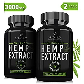 (2 Pack | 240 Pills) Hemp Oil Capsules 3000MG - for Pain Relief Anxiety  Sleep Mood Immune - Best