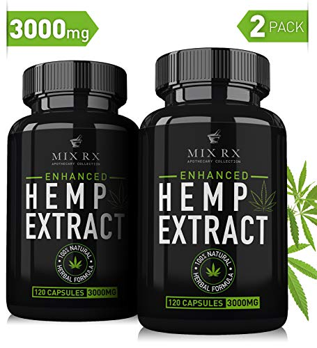 (2 Pack | 240 Pills) Hemp Oil Capsules 3000MG - for Pain Relief Anxiety Sleep Mood Immune - Best Natural Organic Hemp Seed Oil Powder Extract, Omega 3 6 9 -