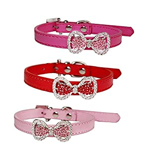 Yunt Bling Rhinestone Pet Cat Dog Bow Tie Collar Necklace Jewelry,Female Puppies Chihuahua Yorkie Girl Costume Outfits(Red,X-Small)