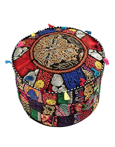 Aakriti Gallery Indian Pouf Footstool Ethnic Embroidered Pouf Cover, Indian Cotton Round Pouffe Ottoman Pouf Cover Pillow Ethnic Decor Art - Cover Only (18x13inch) (Black)