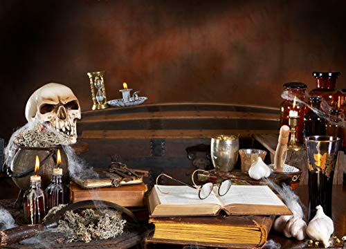 Eric 8x6ft Halloween Photography Backdrop Witch's Kitchen with Skull Poison Bottles Candles and Recipe Books Halloween Theme Pictorial Cloth Customized Background Studio Prop FYNL-0213 -