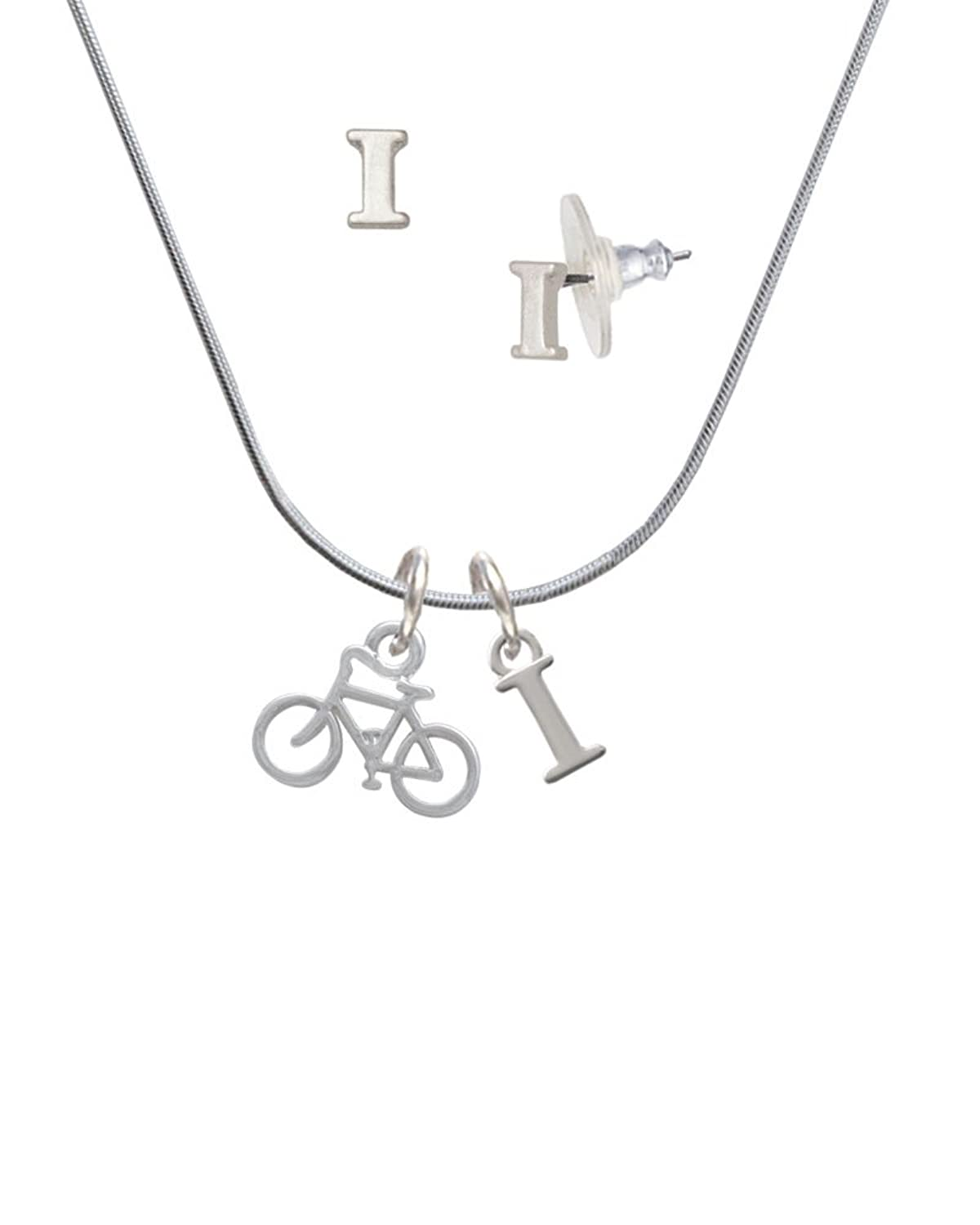Small Bicycle - I Initial Charm Necklace and Stud Earrings Jewelry Set