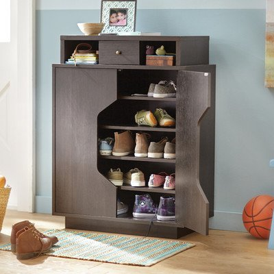 2 Door Shoe Storage Cabinet In Espresso Wood Finish, Includes 5 Interior  Shelves, 1