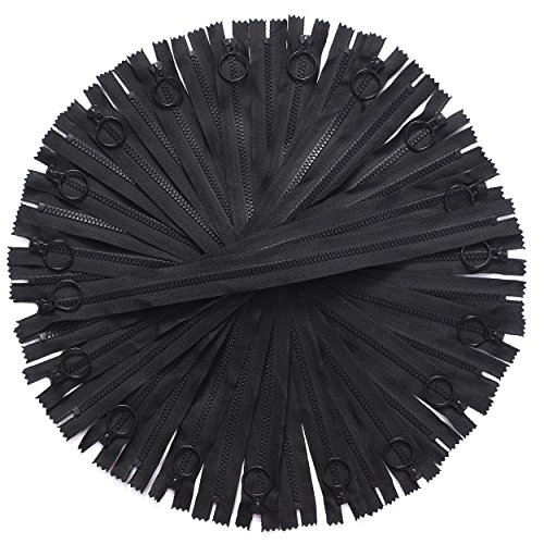 JIUZHU 20Pcs 12 inch 3# Black Resin Zippers with Lifting Ring for DIY Sewing Crafts Bag Garment (Metal Resin)