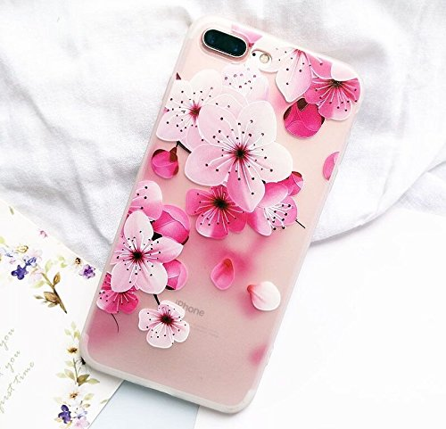 the best attitude 9526b d7400 iPhone 8/iPhone 7 Case(4.7inch),Blingy's Beautiful Japanese Cherry Blossom  Half Transparent Soft Matte Texture Case for iPhone 8/iPhone 7 (Pink ...