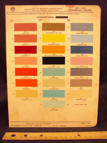 1957 & 1958 INTERNATIONAL HARVESTER Commercial Truck Paint Colors Chip Page ()