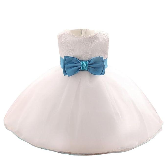 Logobeing Vestido Blanco de Princesa Fiestas Boda para Niñas Vestidos Elegantes de Noche Bowknot
