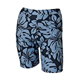 Private Island Hawaii UV Women Rash Guard Skinny Shorts Pants (Grey with Blue)