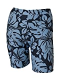 Private Island Hawaii UV Women Rash Guard Skinny Shorts Pants (XX-Large, Grey with Blue)
