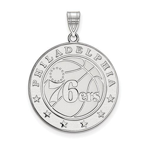 NBA Philadelphia 76ers Xlarge Logo Pendant in Rhodium Plated Sterling Silver by LogoArt