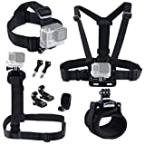 EySen Pro 9 in 1 Accessories Kit for Gopro Hero4,3+,3,2 Camera Include Head Strap Mount+ Chest Mount+ Shoulder Harness Mount+ 360 Degree Rotating Wrist Mount+ Hat Clip+ Thumb Screw+ J-Hook