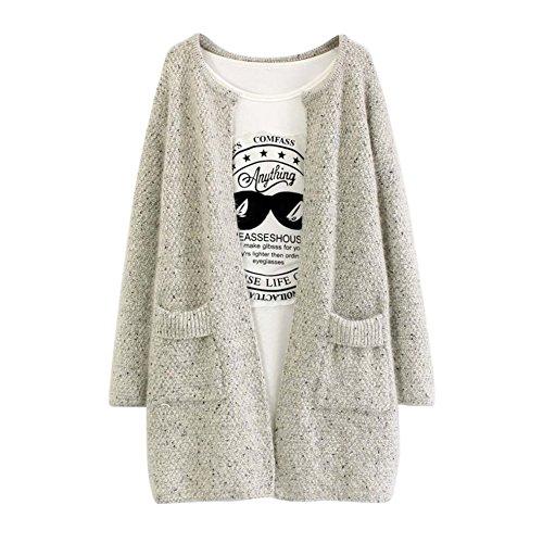 BOBORA ロングカーディガン レディース ニット セーター ロングコート 秋冬 ゆったり 可愛い ポケット付き コーディガン