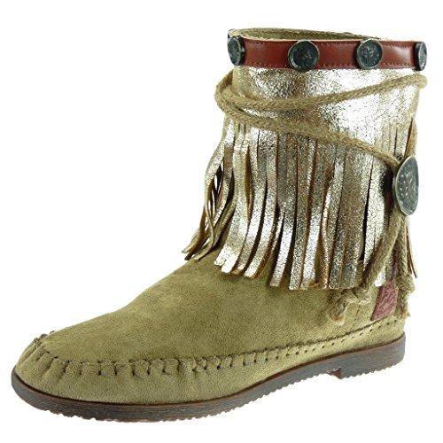 Angkorly - damen Schuhe Stiefeletten - Mokassin Stiefel - Fransen - String Tanga - metallisch Blockabsatz 1.5 CM Grüne
