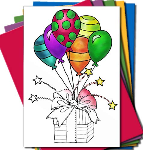 Adult Greeting Card - Art Eclect Adult Coloring Greeting Cards for Birthday, Anniversary and Every Occasions (10 Cards and 10 Colored Envelopes Included, Set A/Rainbow)