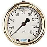 WIKA 9318186 Industrial Pressure Gauge, Liquid-Filled, Copper Alloy Wetted Parts, 2-1/2