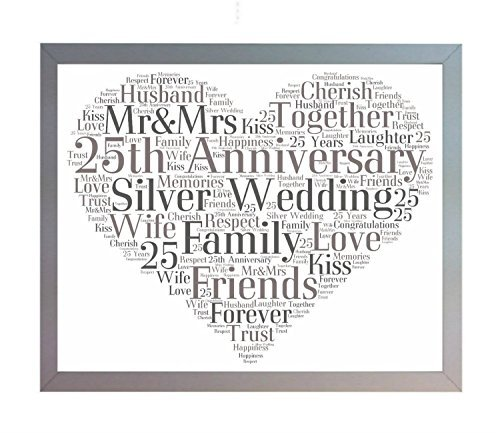 Wedding Anniversary Words (Framed 25th Silver Wedding Anniversary Heart Word Art A4 Photo Picture Print. Keepsake Gift for Mum, Dad, Friend & Family by Oaktree Gifts)