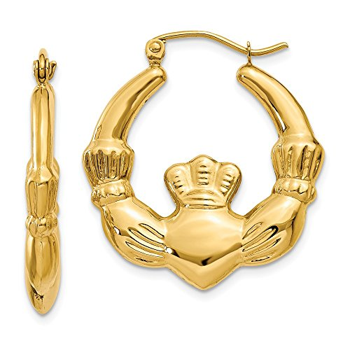 14k Yellow Gold Irish Claddagh Celtic Knot Hoop Earrings Ear Hoops Set Fine Jewelry Gifts For Women For ()