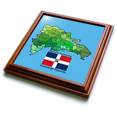 3dRose trv_110020_1 Flag and Map of The Dominican Republic with All The Provinces Identified by Name Trivet with Ceramic Tile, 8 by 8