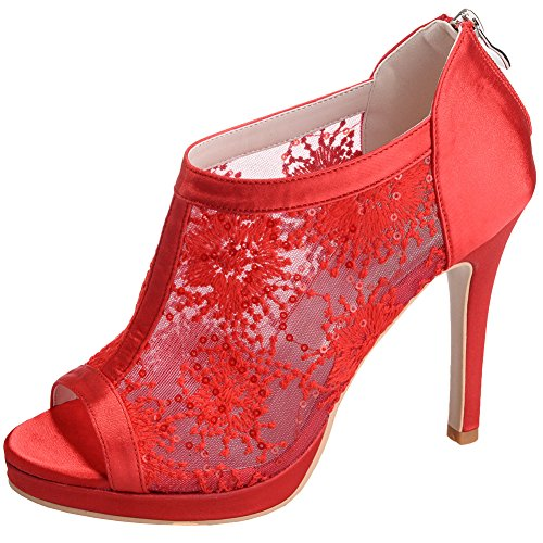 LOSLANDIFEN Womens Peep Toe Lace Ankle Boot Super Breathable Stiletto High Heel Wedding Bridal Shoes Red mgkIxH