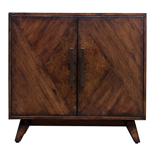 - Elegant Geometric Pieced Burl Wood Accent Cabinet | Mid Century Modern Table